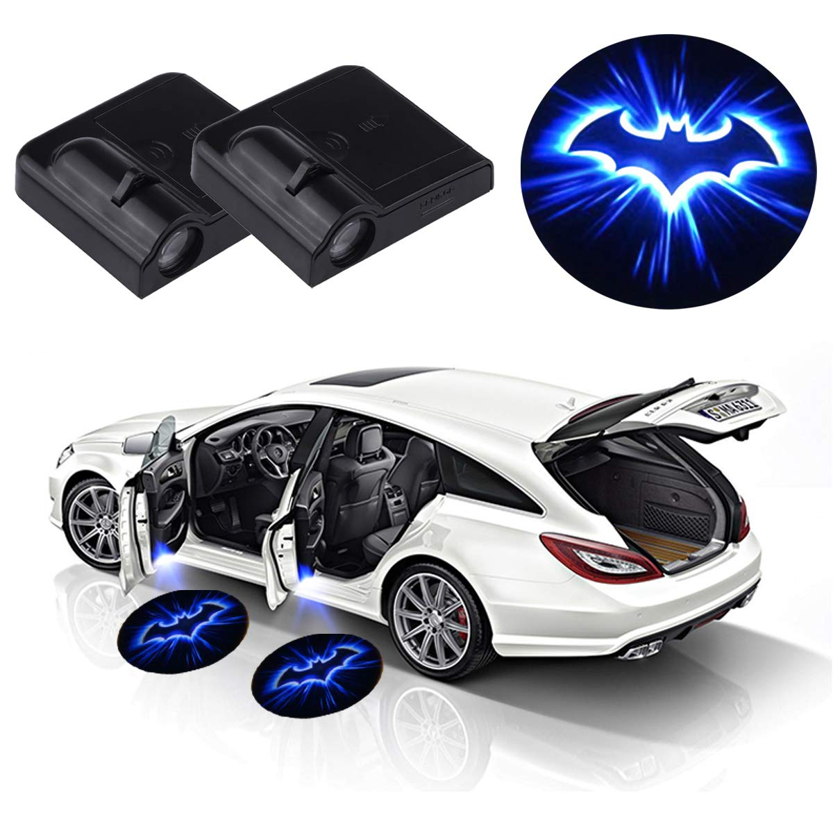 2 Pcs Universal Wireless Car Door Led Lights Projector for Ford Mustang,LED Car Courtesy Welcome Light with Magnet Sensor Auto On//Off Punisher