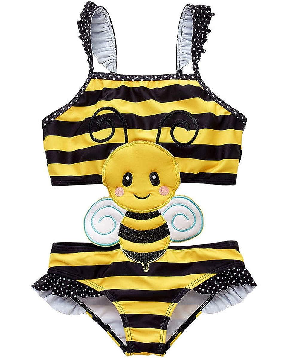 Baby Kid Girl Toddler One Pieces Polka Dots Cute Bee Ladybug Owl Swimsuits Tankini Swimwear