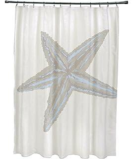 ebydesign sea star coastal print shower curtain washed out