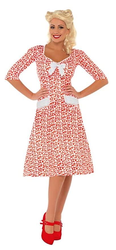 1940s Tea Dresses, Mature, Mrs. Long Sleeve Dresses Smiffys WW2 Sweet Heart Costume  AT vintagedancer.com