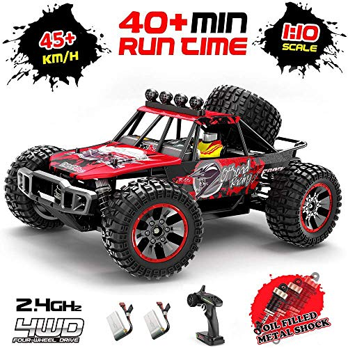 RC Car,1:10 Scale 4MD/46KM/H High Speed All Terrain Off-Road Buggy.Large Monster Waterproof Trucks, 2.4 GHz Radio Controlled Car,2 Rechargeable Batteries,Alloy Oil Pressure Shock Absorber