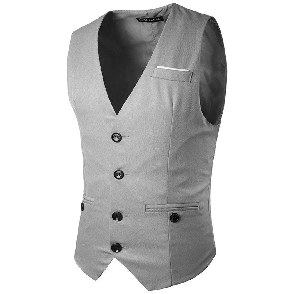 Männer - Weste, europäische und amerikanische Mode - Brust - Dekoration, Anzug, Weste,Grau,XXL