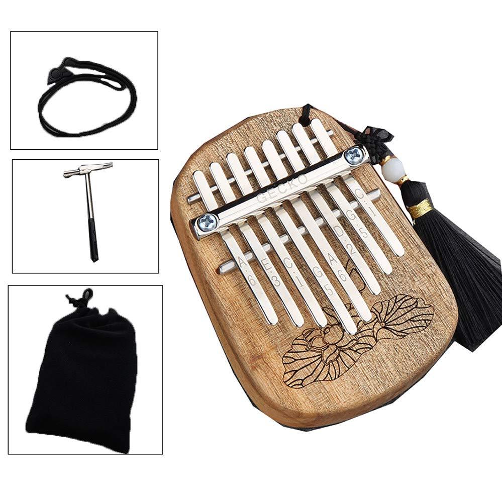 Yajun Kalimba Thumb Piano 8 Keys Mini Compact Finger Marimbas Child Beginner Easy to Learn Hanging Hole Design Music Instrument,Camphor-Wood by Yajun