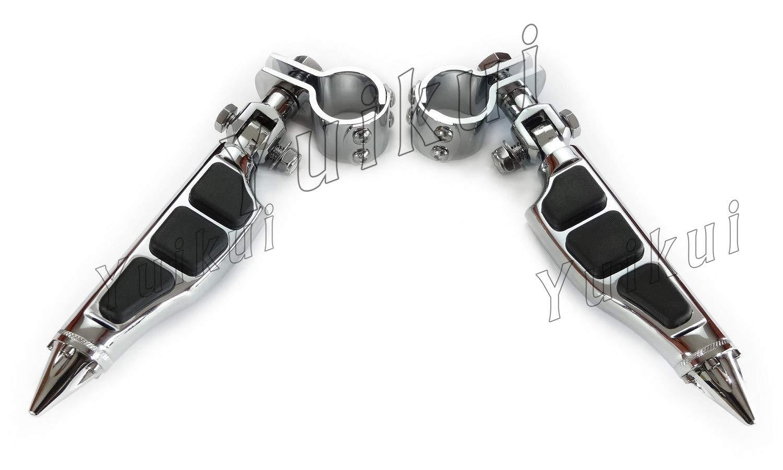 YUIKUI RACING オートバイ汎用 1-1/4インチ(32mm)/1インチ(25.4mm)エンジンガードのパイプ径に対応 ハイウェイフットペグ タンデムペグ ステップ YAMAHA ROAD STAR 1600 / 1700 (including WARRIOR) / SILVERADO From 1999等適用 B07PY6HNY9 クローム クローム