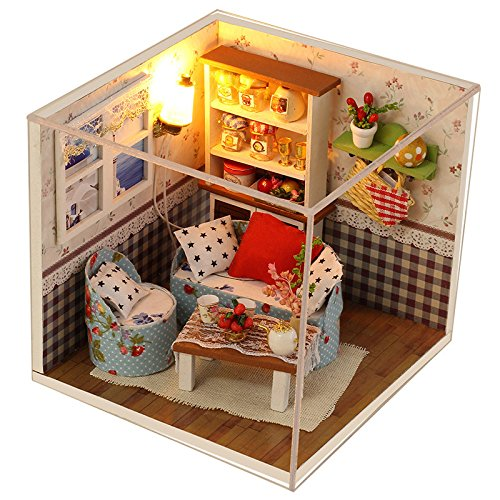 JONE Fashion Warm Living House Kit Diy Miniature Wooden Puzzle Dollhouse Furniture Gift Box