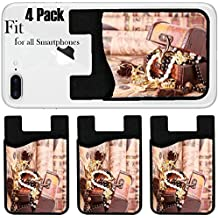 Liili Phone Card Holder Sleeve/Wallet for IPhone Samsung Android and all Smartphones with Removable Microfiber Screen Cleaner Silicone card Caddy(4 Pack) Antique chest with jewelry on vintage map Pho