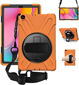 "ZenRich Galaxy Tab A 10.1 Case 2019 T510 T515, Shockproof Heavy Duty Rugged Case with 360 Rotating Kickstand Hand Strap Shoulder Belt for Samsung Galaxy Tab A 10.1"" SM-T510/T515-Orange"