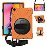ZenRich Galaxy Tab A 10.1 Case 2019 T510 T515, Shockproof Heavy Duty Rugged Case with 360 Rotating Kickstand Hand Strap…