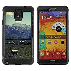 Hybrid Anti-Shock Defend Case for Samsung Galaxy Note 3 / Lambs On A Field