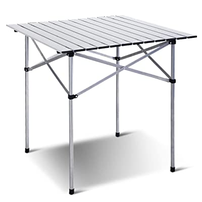 "Giantex Roll Up Portable Folding Camping Square Aluminum Picnic Table w/Bag (27-3/5"") : Garden & Outdoor"