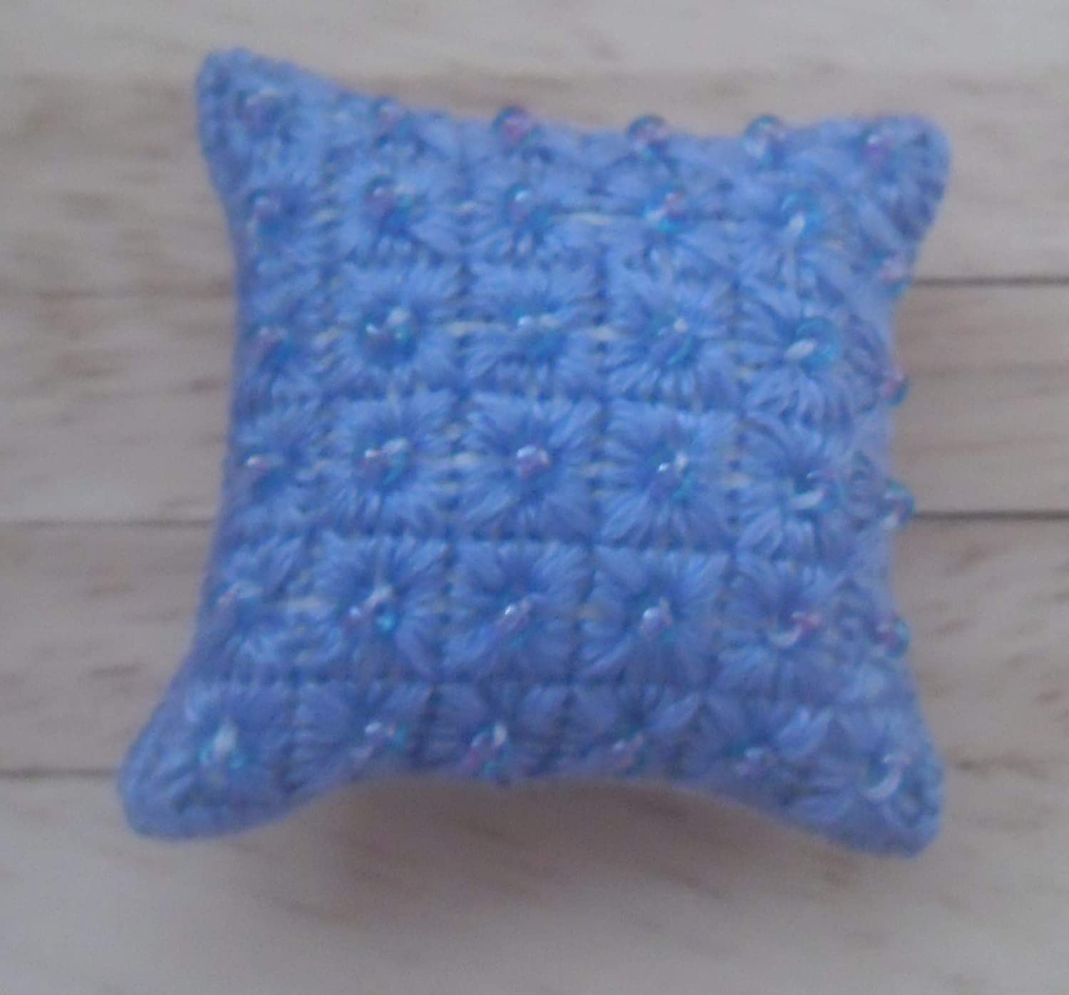 Art Deco Squares Design in Purple with Lilac Beads 1//12th scale Dolls House Hand Embroidered Cushion