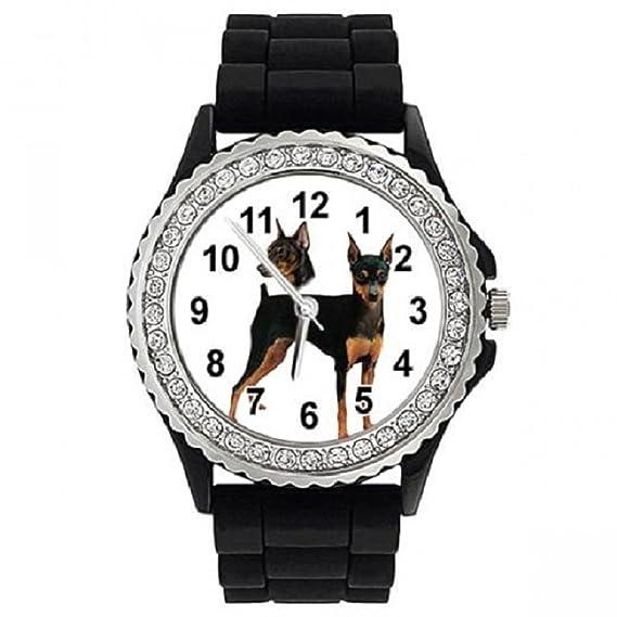 Timest - Pinscher Alemán - Reloj de Silicona negro para Mujer con Piedrecillas SGP322