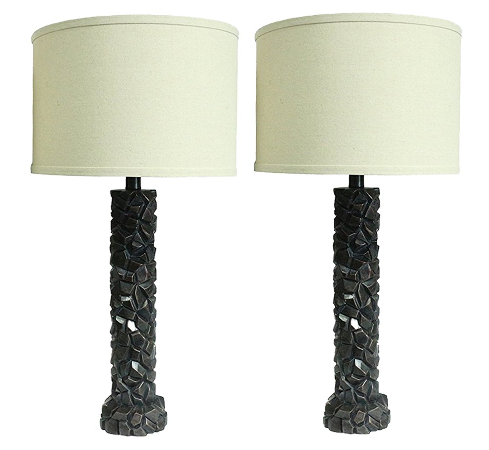Urbanest Set of 2 Duvy Lamps in Paris Bronze with Natural Linen Shades