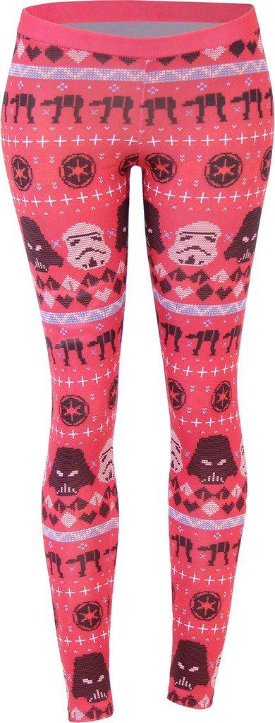 Star Wars Ugly Christmas Pattern Red Leggings (Juniors Medium)