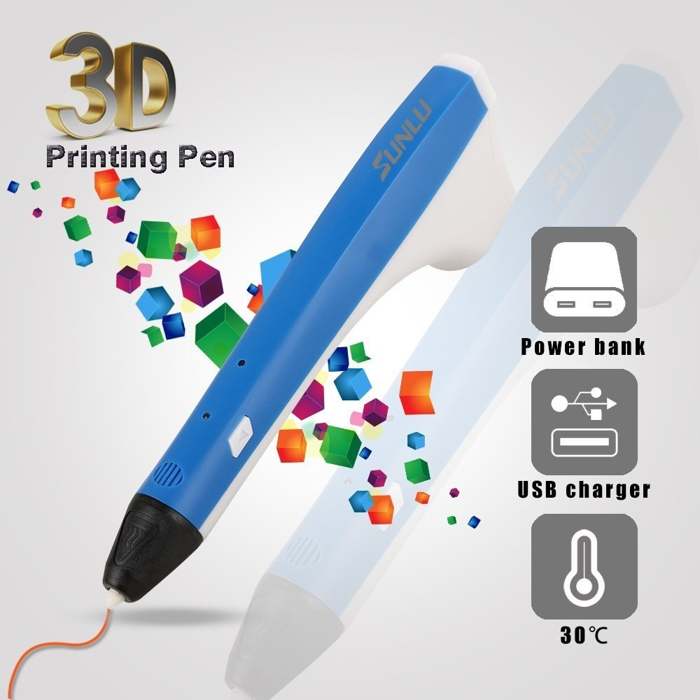 SUNLU 3D Pen Newest Gift for Adults,Teenagers, Kids, 3D Printer Printing & Drawing Pen, USB Power Bank PLA and PCL Compatible 2PCS Filament Refills, Elegant Hot Blue