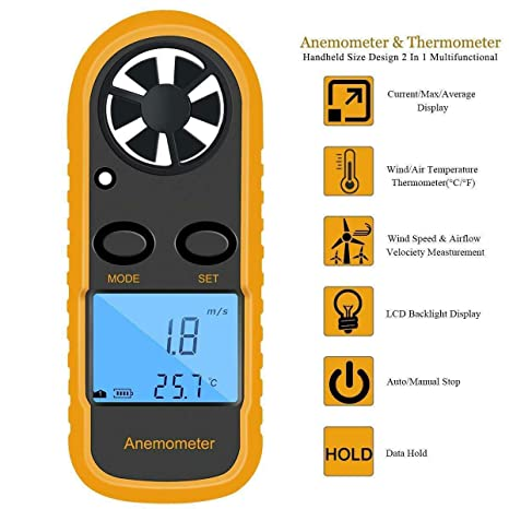 LCD-Handheld Digital Anemometer Wind Speed Meter Waterproof+6 Wind Speed Units