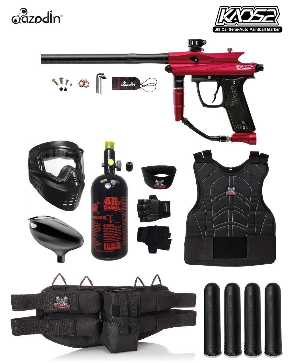 MAddog Azodin KAOS 2 Starter Protective HPA Paintball Gun Package - Red/Black