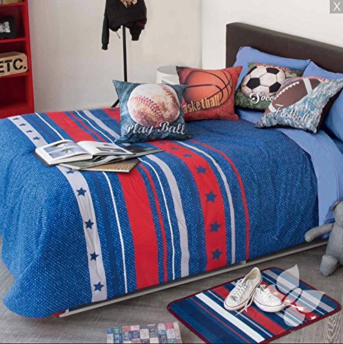 FOOTBALL,SOCCER,BASKETBALL,PLAY BALL TEENS BOYS CHIC COMFORTER SET AND EMBROIDERED SHEET SET 9 PCS QUEEN SIZE by JORGE'S HOME FASHION