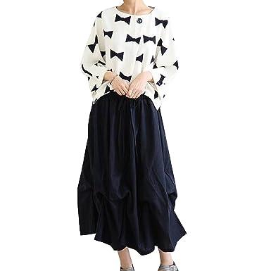 0431faddc43 Cotton And Linen Women Arts Fan Bud Skirt, Black-M at Amazon Women's ...