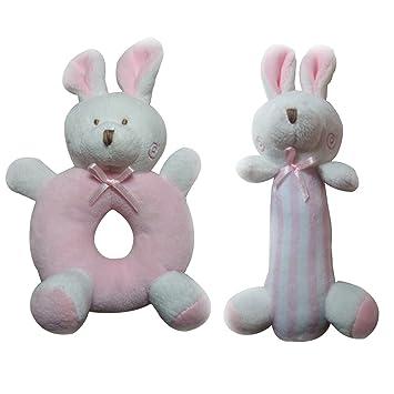TOYMYTOY 2 UNIDS Bebé Sonajero Peluches de Peluche Juguetes Recién Nacidos Cuna Juguetes Conejos Conejito (