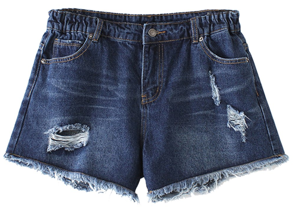 D-Sun Women Casual Plus Size Ripped Destroyed Jeans Shorts Fringe Cuff with Elastic Waist (Style 2, M)