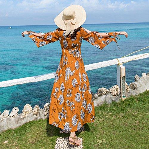 Playa Falda Vestidos Mujer De Junto Con XIU Vacaciones Hombro Vestir Al RONG De Una Ginger Larga Verano Mar ZwqwXR5