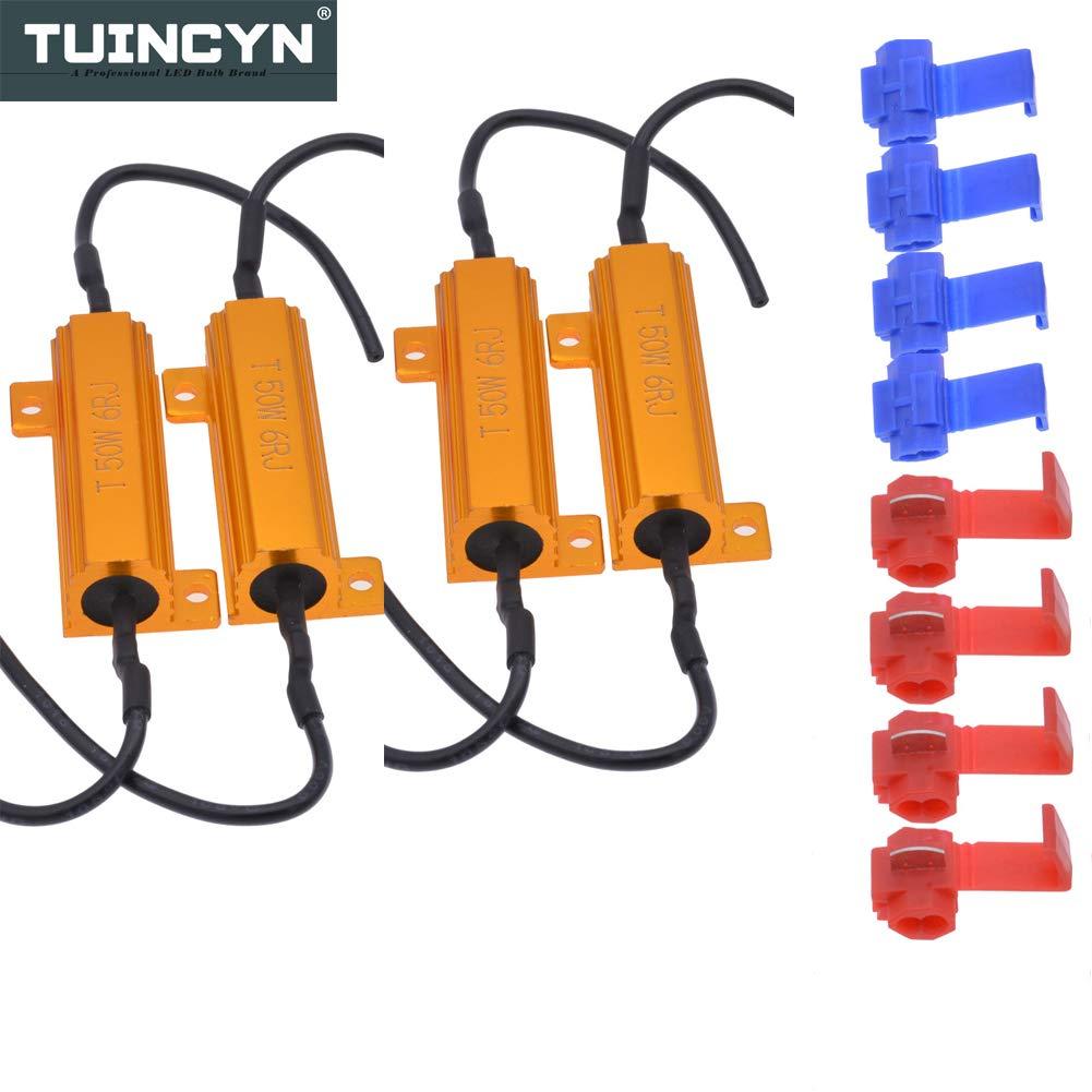 Tuincyn 4pcs 50W 8Ohm LED résistances de charge LED Ampoules de phare d'erreur canceller Feux de plaque d'immatriculation avertissement canceller Tour Signal lumières Hyper Flash Condensateur décodeur fils avec 8&nbsp