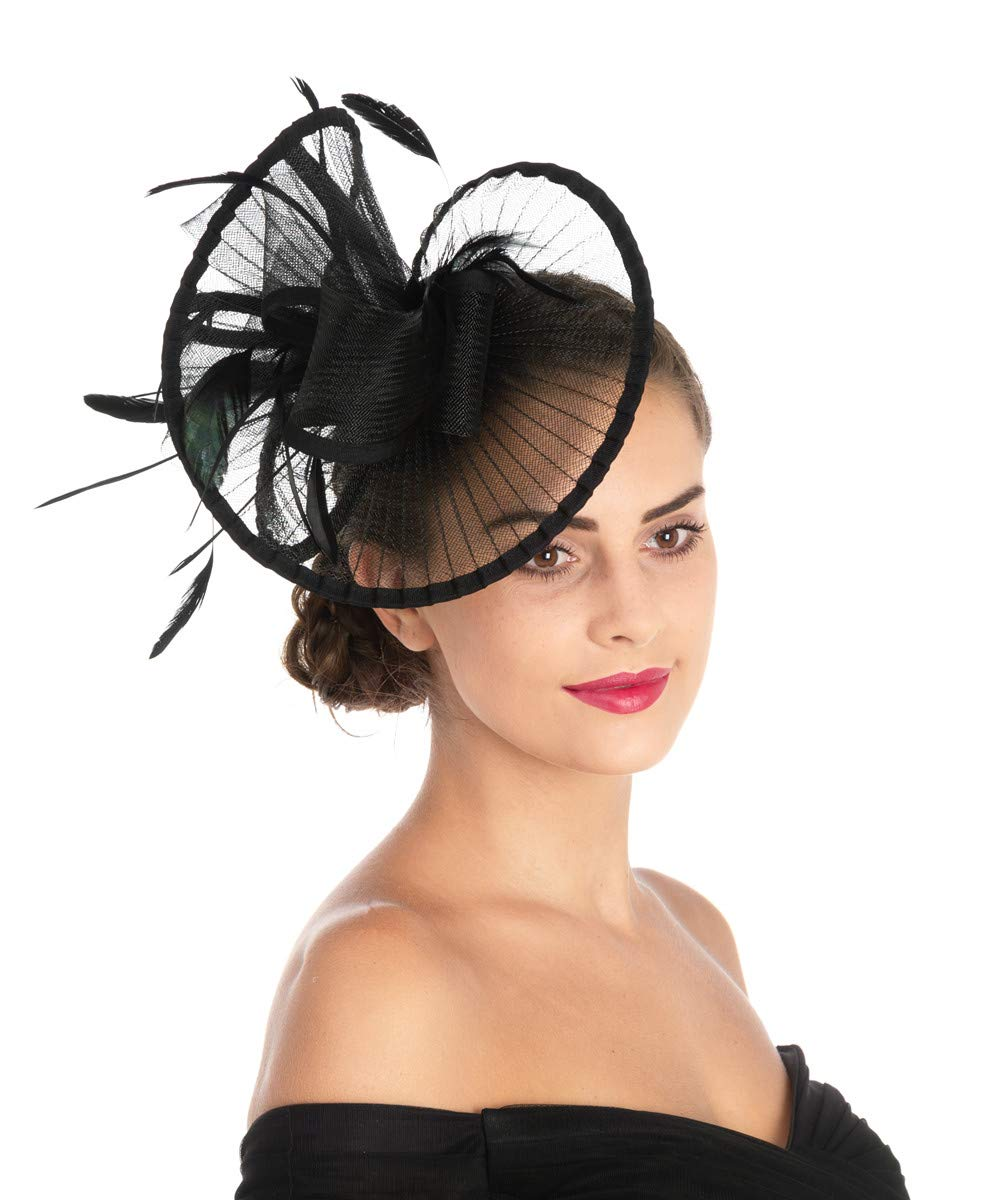 Lucky Leaf Women Girl Fascinators Hair Clip Hairpin Hat Feather Cocktail Wedding Tea Party Hat (2-Black) by Lucky Leaf (Image #2)