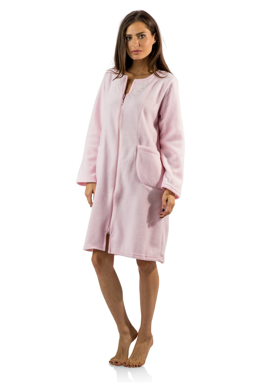 Casual Nights Women's Long Sleeve Zip Up Front Short Fleece Robe - Pink - Medium by Casual Nights (Image #2)