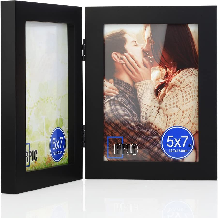 5x7 Soild Wood Double Picture Frames with High Definition Glass for Table Top Display Photo Frames