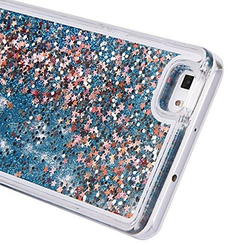 Ukyfe Huawei P8Lite, funda protectora, transparente con purpurina líquida, de TPU, carcasa de silicona y gel TPU, amortiguagolpes, parachoques y antiarañazos, reloj de arena en forma de corazón en 3D arena movediza-azul claro