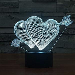 Yying Amor Corazon Lámpara de ilusión LED 3D 7 Colores cambiantes de luz Nocturna Lámpara de Mesa con Control de Interruptor táctil Regalo de San Valentin