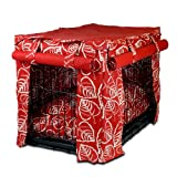 Snoozer Cabana Pet Crate Cover with Pillow Dog Bed, Medium, Red Leaf, My Pet Supplies