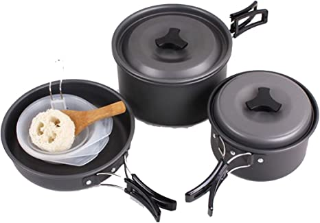 Camping batería de cocina sartenes olla de campaña Mess Kit para 2 – 3 persona...
