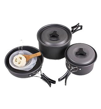 Camping batería de cocina sartenes olla de campaña Mess Kit para 2 - 3 persona...: Amazon.es: Deportes y aire libre