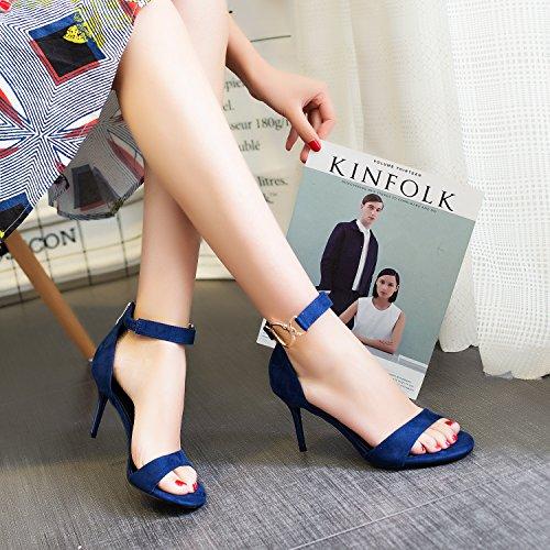 8cm Tacón con Alto Sandalias Ranura Suhang Sandalias para The Blue by Wild the de followed con height Mujer Negra Sx4nqUC