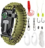 "Paracord Bracelet Emergency Kit 17 pcs Survival Gear by A2S - Ultimate Survival Series includes 12 pcs Fishing Gear & Baits - Emergency Food Preparedness for all (Green, Large 9.5"")"