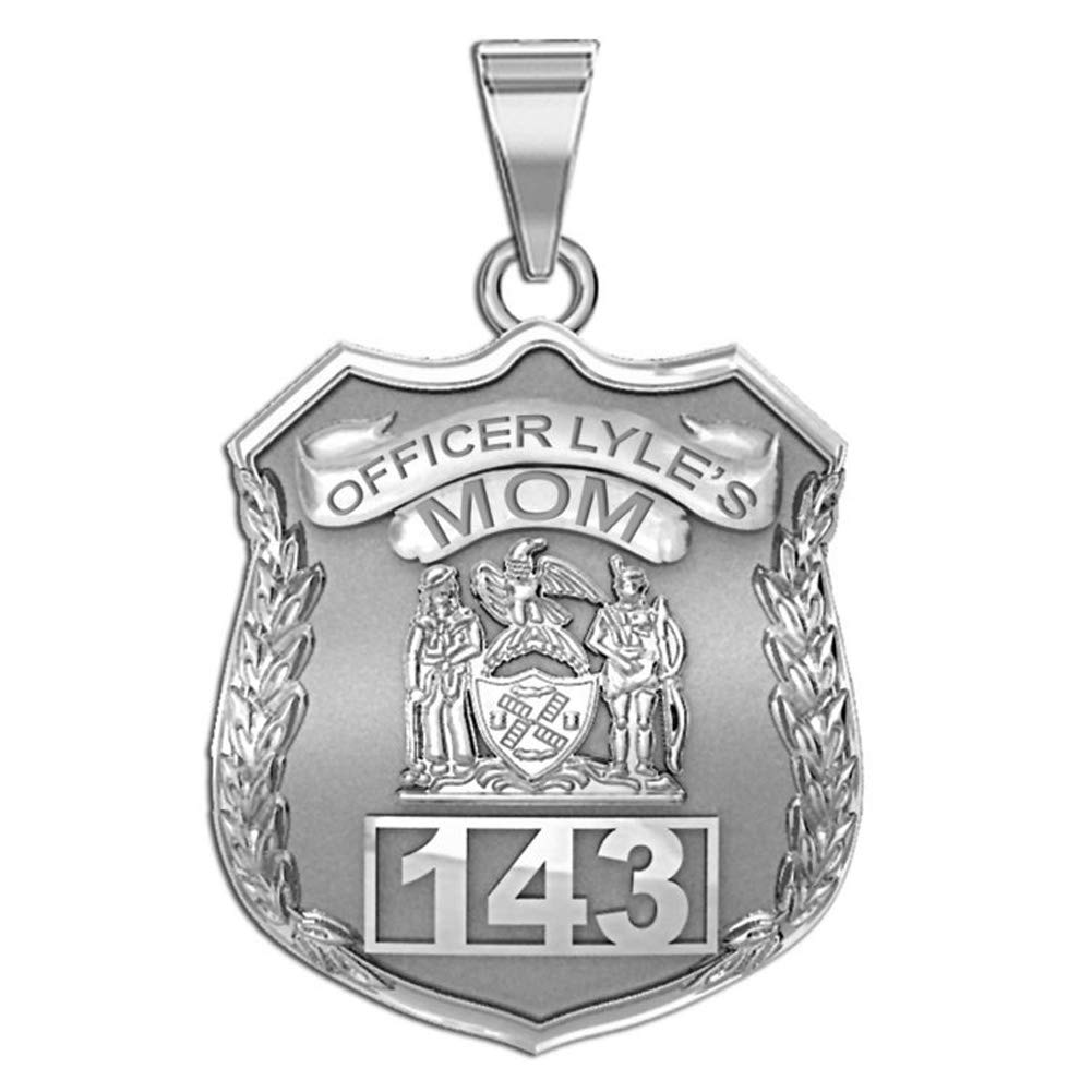 PicturesOnGold.com Solid 10K White Gold Police Mom Personalized Police Badge with Officer's Name and Number - Size 3/4 x 1 inch