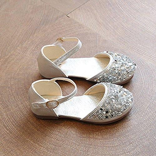 NiSeng Niñas Princesa Calzado Moda Lentejuelas Zapatos Vestir Zapatos Fiesta Zapatos Plateado
