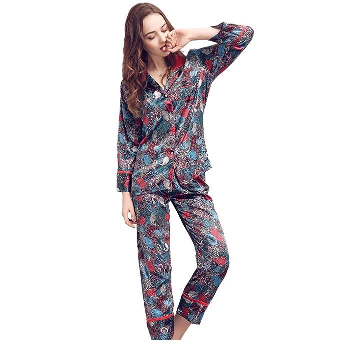 satén pijama Ropa de dormir de manga larga de seda para mujer, TieNew Ladies pijama