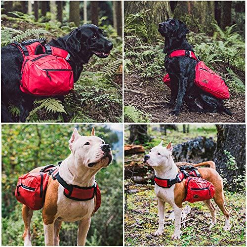 Dog Detachable Backpack Hound Saddlebag for Service Dog Travel Camping Hiking Training,Rucksack with 2 Removable Bags for Carrying Poop Bags and a Small First Aid Bag for Large Breeds-M