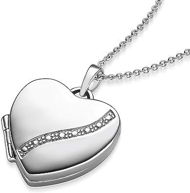 Valentinstag Geschenke für Frauen * Herz Medaillon * + LUXUSETUI mit Gravur! Herzkette Foto Anhänger Silber 925 Herz Zirkonia Geschenkidee Geschenke