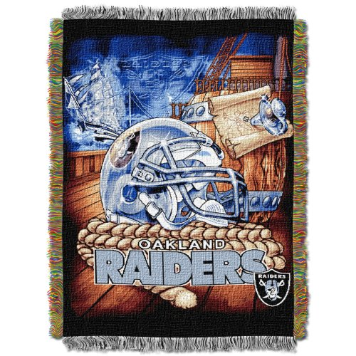 The Northwest Company Officially Licensed NFL Oakland Raiders Home Field Advantage Woven Tapestry Throw Blanket, 48