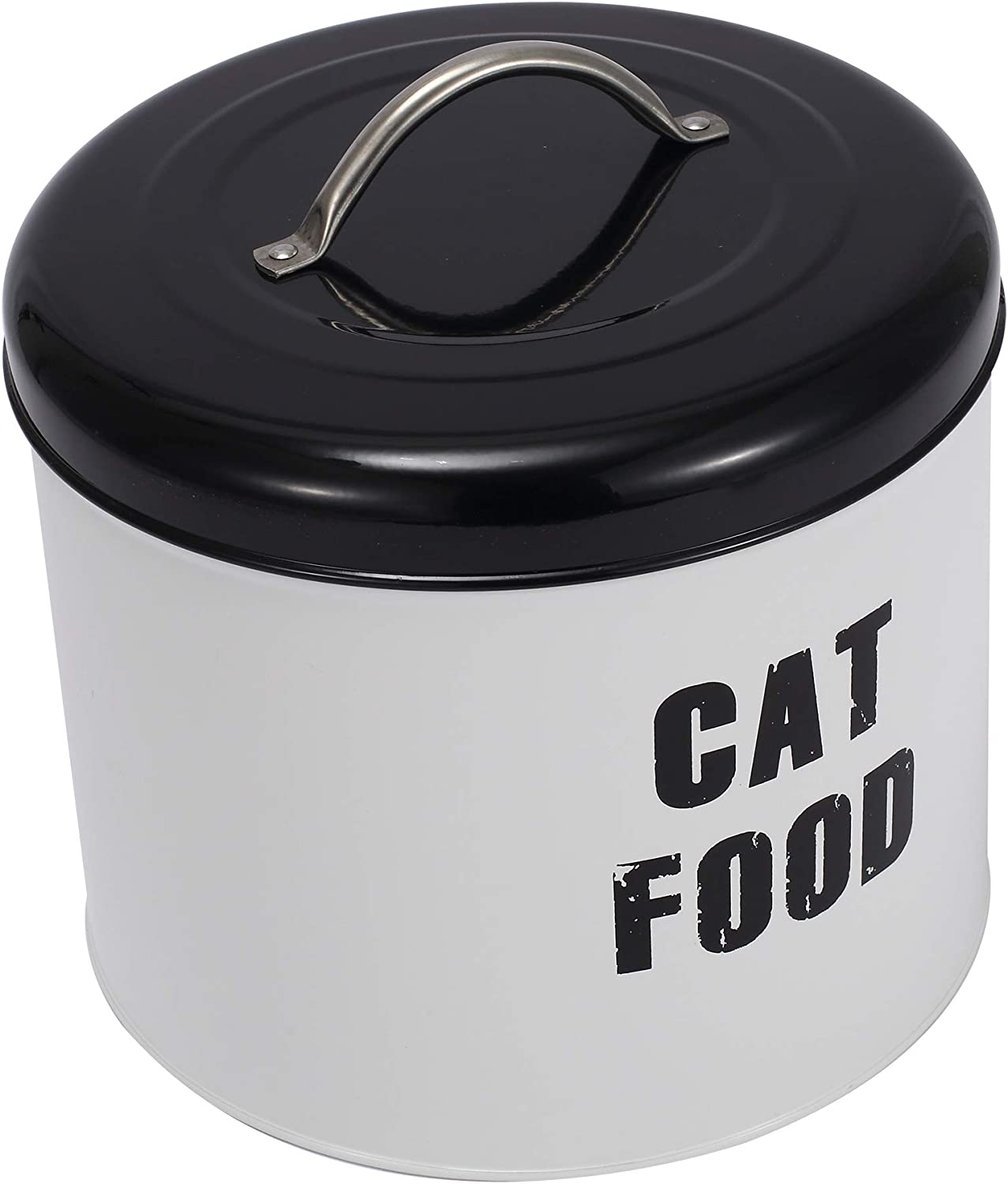 Brabtod White Farmhouse Dog Food Canister, Decorative Kitchen Food Storage Holder for Dog Treat Container bin and Food
