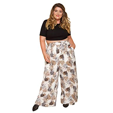 0d0b482c84b Astra Signature Women  s Plus Size Wide Leg Pants Plant Print Casual Full  Length Trousers with Pockets at Amazon Women s Clothing store