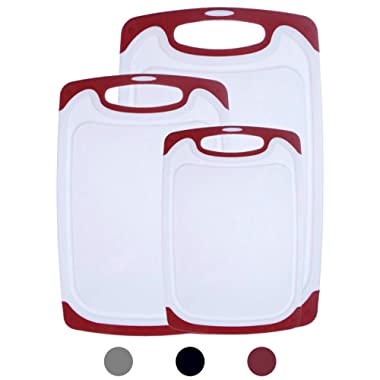 HOMWE Kitchen Cutting Board (3-Piece Set)   Juice Grooves w/Easy-Grip Handles   BPA-Free, Non-Porous, Dishwasher Safe   Multiple Sizes (Set of Three, Red)