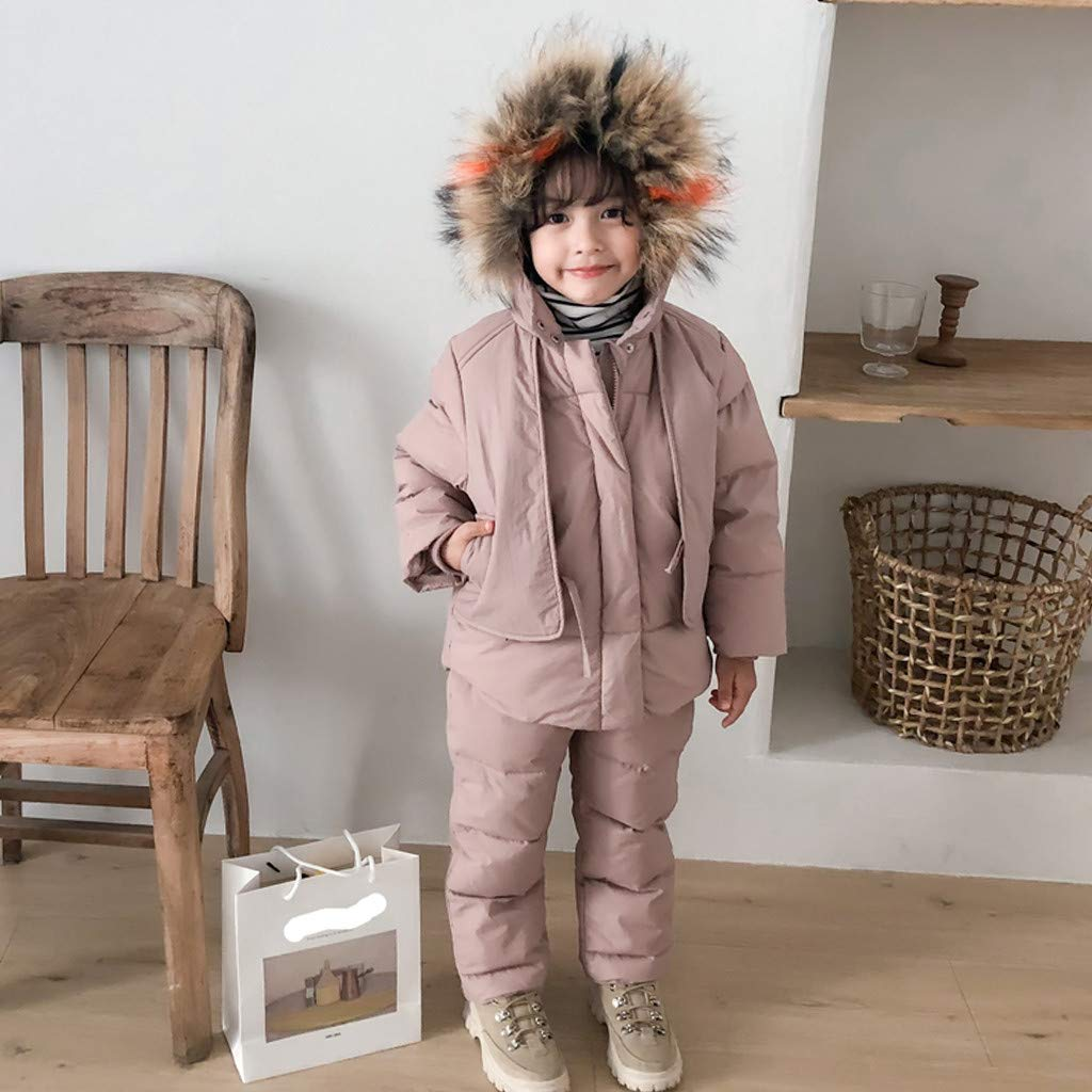 5-6 Years, Pink Gallity 3-10 Y Kids Boys Girls Winter Artificial Fur Down Coats Snowsuit Outerwear 2Pcs Clothes Hooded Jacket Snow Ski Bib Pants Outfits Set