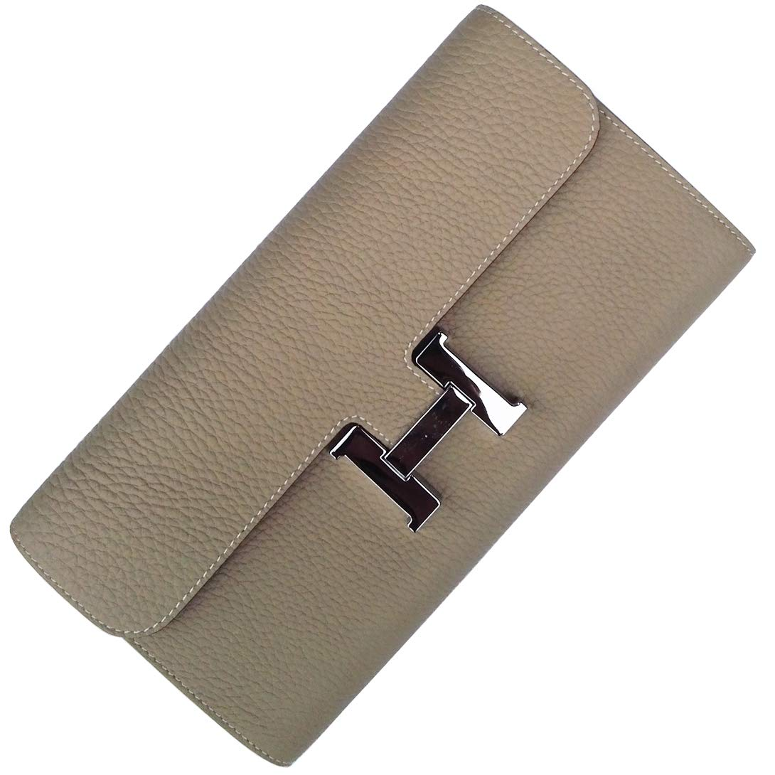 FBLUE New High -Capacity Women 's Long Wallet'' H'' Buckle Wallet Litchi Grain Leather Handbags FB022 (Light Grey)
