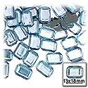 長方形の八角形クラフトアウトレット144アクリルアルミ箔フラットバックラインストーン、13by 18mm、ライトベビーブルー