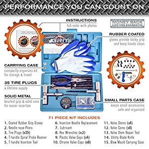 [71 Piece] Heavy Duty Tire Repair Kit with Gloves | Universal Tubeless Flat Tire Plug Kit for Puncture Repair | Ideal for Cars, Trucks, SUVs, ATVs, Motorcycles, Lawn Mowers, Tractors, Motorhomes
